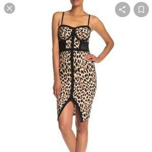 Material Girl Leopard Print Bodycon Midi Dress
